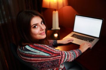 Young attractive woman at home