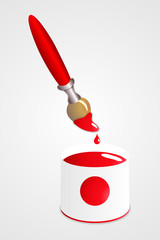 Pincel y pintura rojos