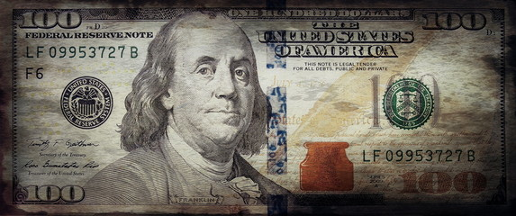 old grunge one hundred dollar bill