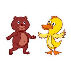 bear duck  Vector File EPS10 Hand-drawn cartoon