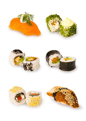 Different sushi on white background