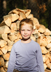 Boy with wood