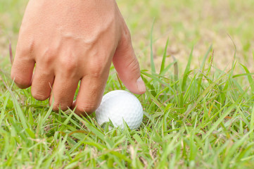 Close-up, Person holding golf ball
