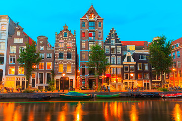 Printed kitchen splashbacks Amsterdam Night city view of Amsterdam canal Herengracht