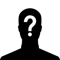 Man silhouette icon with question mark sign