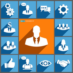 Set of business icons on blue & orange background