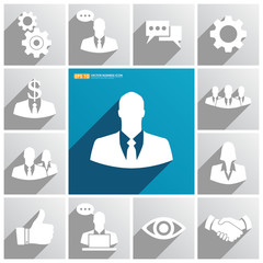 Set of business icons on blue & gray background