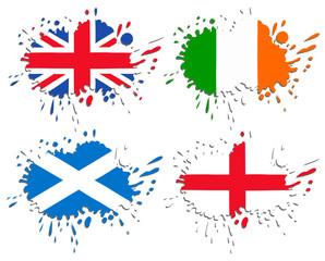 Flags of England, Scotland, Ireland as spots