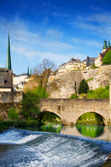 Wall Mural - Luxembourg on Alzette river with course in summer