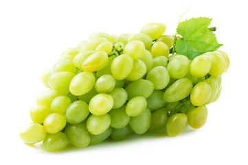 Fresh green grapes with leaves.