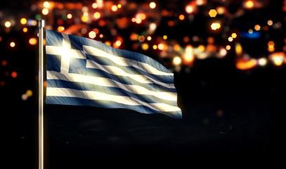 Greece National Flag City Light Night Bokeh Background 3D