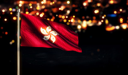 Hongkong National Flag City Light Night Bokeh Background 3D