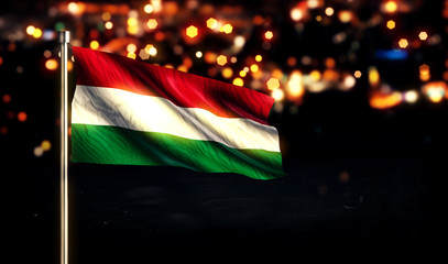 Hungary National Flag City Light Night Bokeh Background 3D