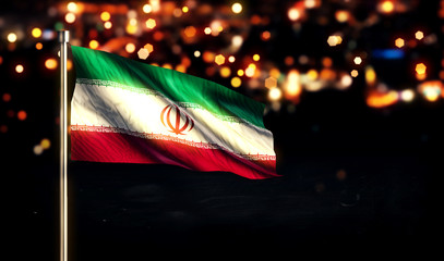 Iran National Flag City Light Night Bokeh Background 3D