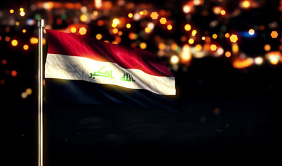Iraq National Flag City Light Night Bokeh Background 3D