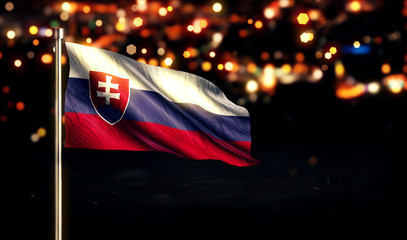 Slovakia National Flag City Light Night Bokeh Background 3D