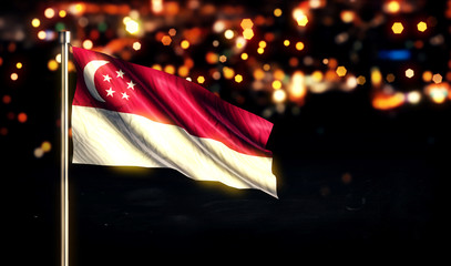 Singapore National Flag City Light Night Bokeh Background 3D
