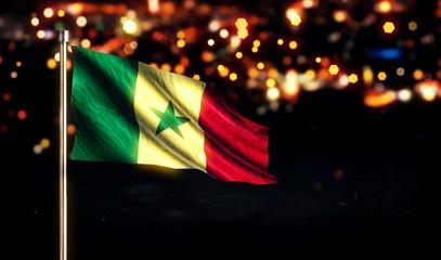 Senegal National Flag City Light Night Bokeh Background 3D
