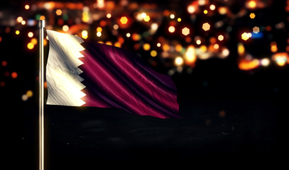 Qatar National Flag City Light Night Bokeh Background 3D