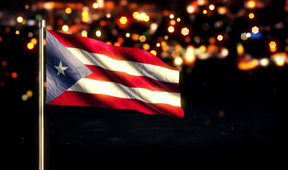 Puerto Rico National Flag City Light Night Bokeh Background 3D
