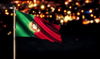 Portugal National Flag City Light Night Bokeh Background 3D