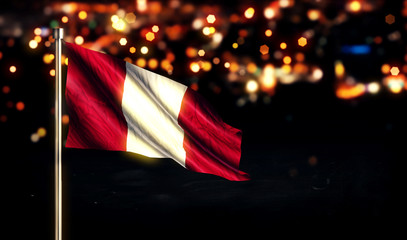 Peru National Flag City Light Night Bokeh Background 3D