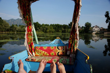 Shikara boat on Nageenl lake , Kashmir India