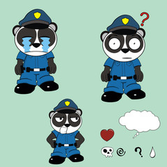 panda bear police cartoon set3