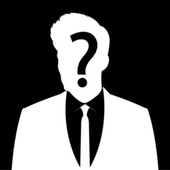 Businessman icon with question mark sign