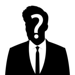 Businessman silhouette with question mark sign