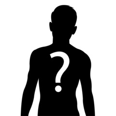 Male body silhouette with question mark sign