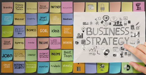business hand push icons of business strategy on sticky note as