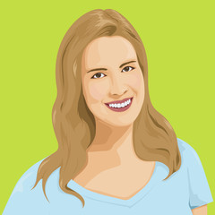 Vector Portrait Of A Smiling Caucasian Woman