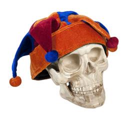 Skull Wearing Joker Cap