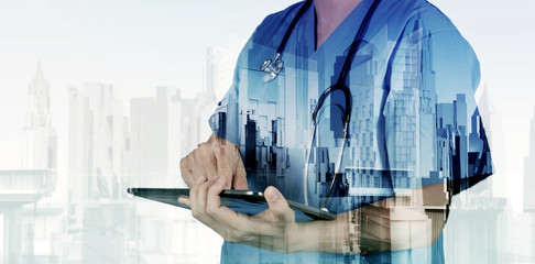 Double exposure of smart medical doctor working with abstract ci