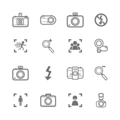mono Camera icons and menu Camera icons  on  White paper set 2