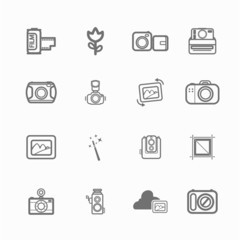 mono Camera icons and menu Camera icons  on  White paper set 1