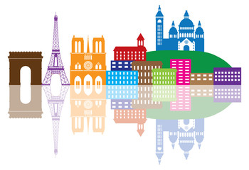 Paris City Skyline Silhouette Color Vector Illustration