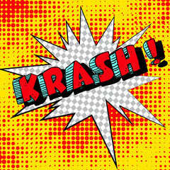 Big krash. Comic book explosion. Illustration