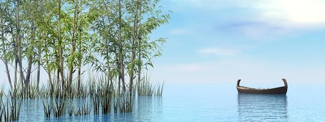 Peaceful wood boat - 3D render