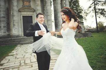 Happy newlywed  couple on wedding day
