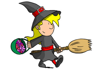 Girl in witch costume with broom
