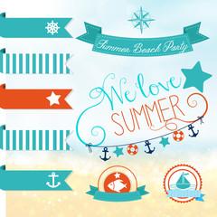 Set of vector handwritten letterings for summer design