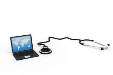 Laptop with stethoscope, online medical concept .