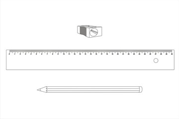 comp lápiz regla sacapuntas líneas