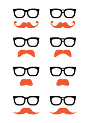 Geek glasses and ginger moustache or mustache vector icons