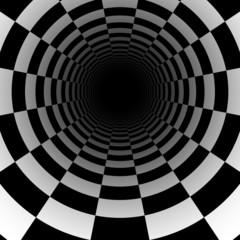 Abstrakcjonistyczny szachowy tunelowy 3D