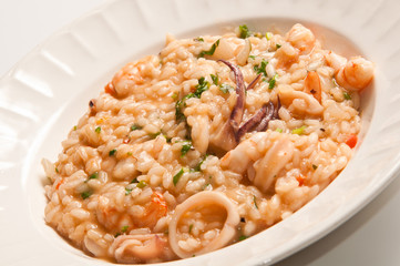 Delicious sea food risotto made with fresh shrimps and squids!