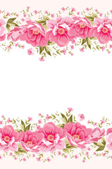 Ornate pink flower decoration with text label.