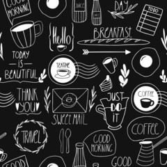 Black and white doodle seamless pattern